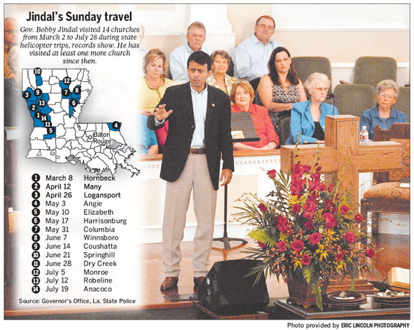 www.2theadvocate.com_Gov. Bobby Jindal speaks at First Baptist Church in Rayville on ug. 23. The visit came after the time period covered by travel records requested by The Advocate earlier this summer. _083009sundaytravelgraphic